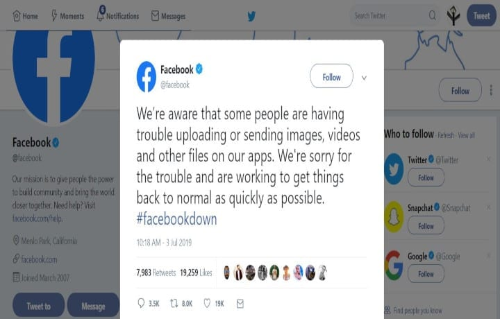 Facebook: Working To Get Things Back To Normal As Quickly As Possible