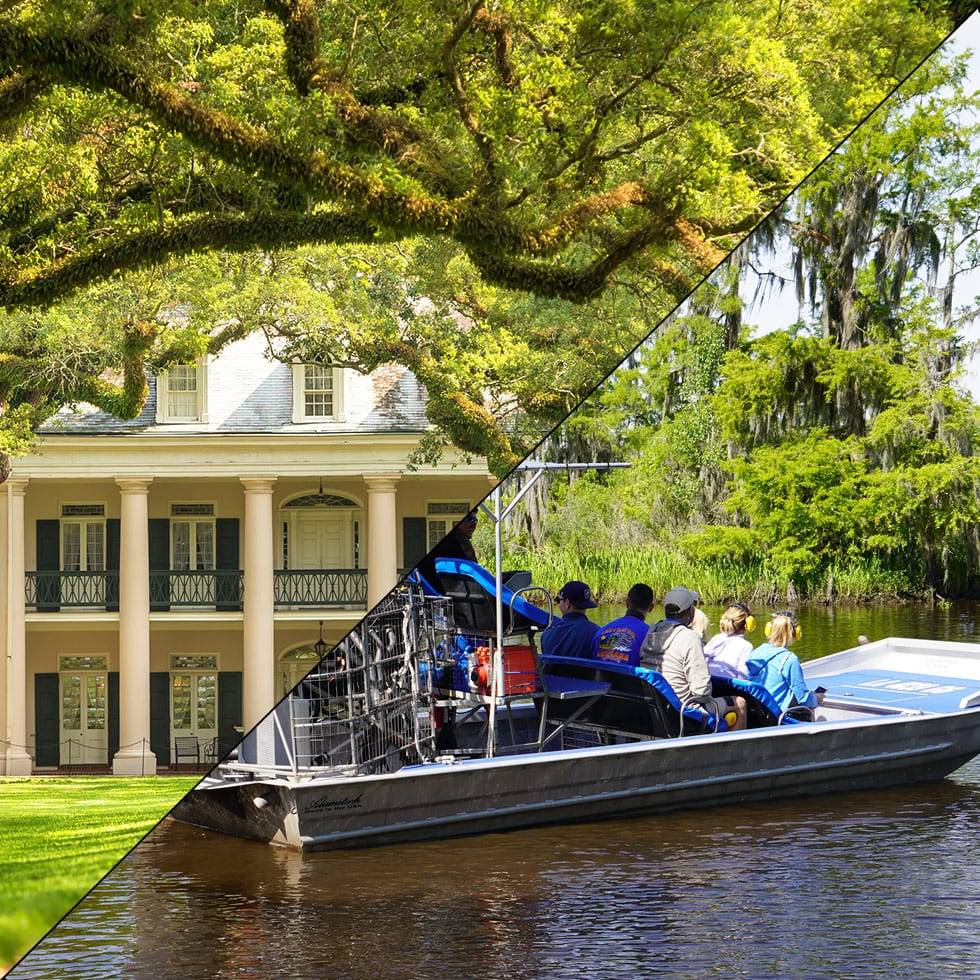3 hour City / Katrina Tour + Large Airboat, Oak Alley Plantation