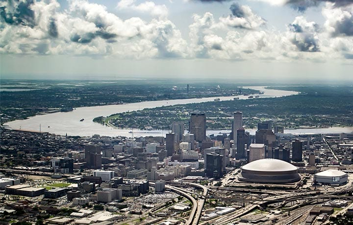 Aerial view of Mississippi river and Downtown New Orleans Louisiana, Cajun Invasion Seaplane Tour